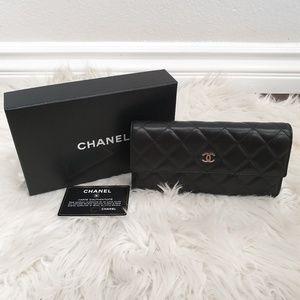 Chanel Wallet - Black Lambskin w Silver HW